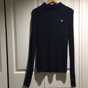 A&F Navy Blue Turtle Neck cotton blend Sweater L
